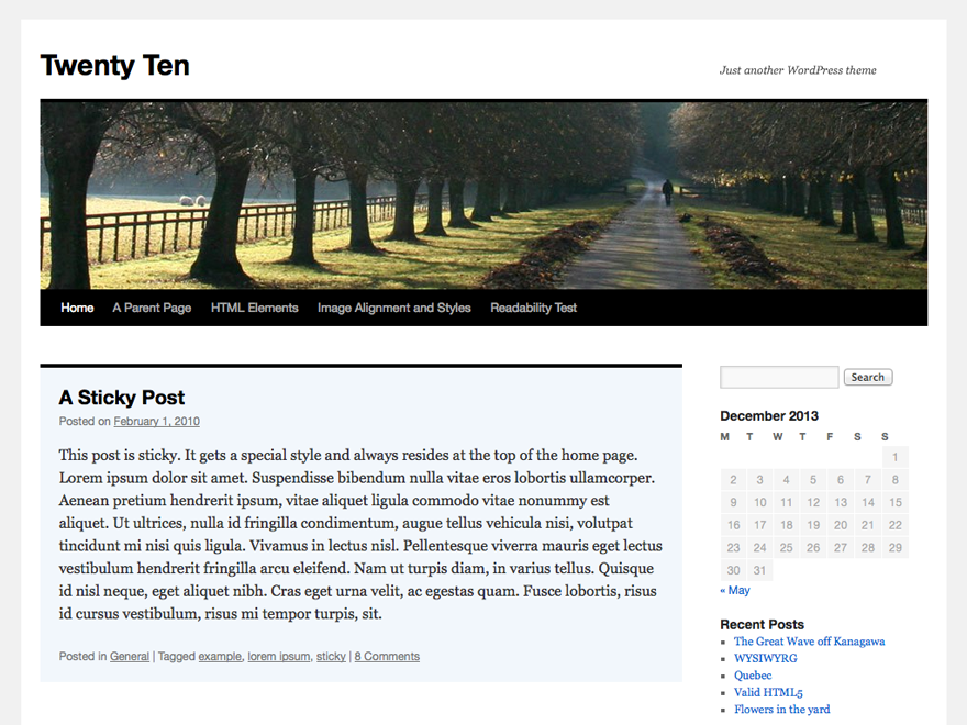WordPress thema Twenty Ten